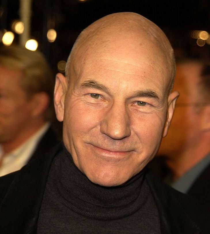 Patrick Stewart (head that's bare) Stewart returned to his normal form.