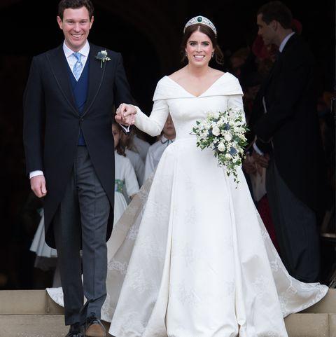 Wedding dress, Gown, Bride, Dress, Bridal clothing, Facial expression, Clothing, Formal wear, Ceremony, Wedding,