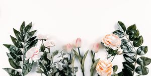Floral pattern on white background. Flat lay, top view