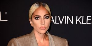 Lady Gaga wears an oversized Marc Jacobs suit on the red carpet