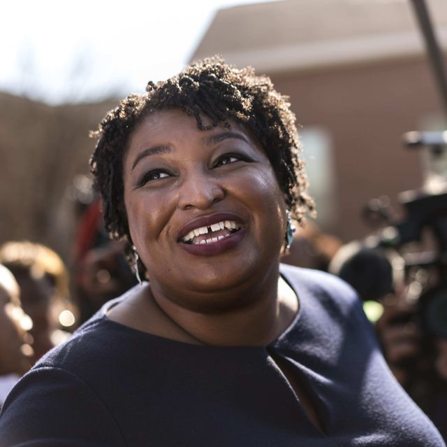 macon, georgia   former georgia house democratic leader and democratic nominee for georgia governor stacey abrams begins campaigning across the state on the first day of early voting outside the ebenezer missionary baptist church in macon, georgia monday october 15, 2018 photo by melina marathe washington post via getty images