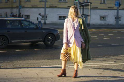 street style lilac blazer yellow skirt