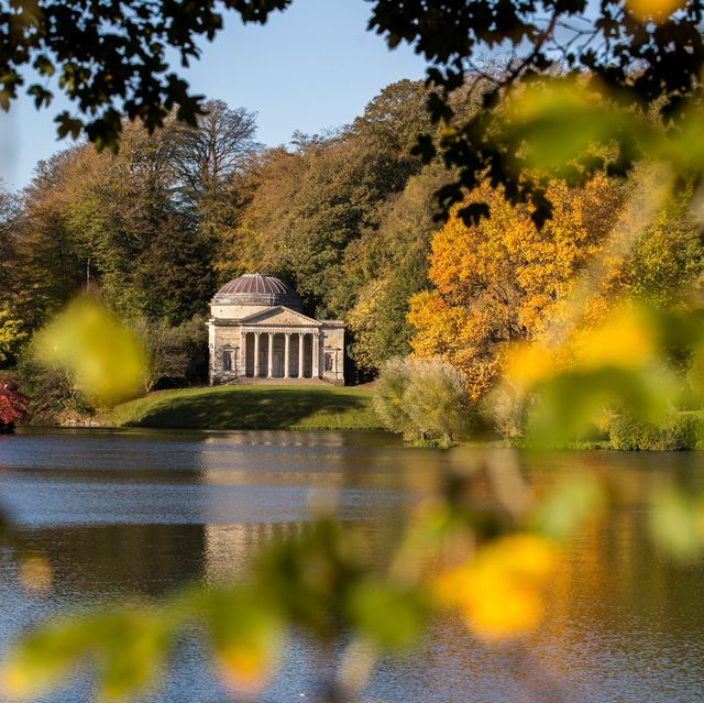 stourhead, england   october 22 the early morning sun shines on trees that are displaying their autumn colours surrounding the lakeside pantheon at the national trusts stourhead on october 22, 2018 in wiltshire, england  forecasters are warning that sub zero temperatures and artic winds will reach some parts of the uk by the end of this week, bringing to an end a stretch of mild autumn weather, which saw some areas in the south east enjoying temperatures hitting 20c 68f at the weekend  photo by matt cardygetty images