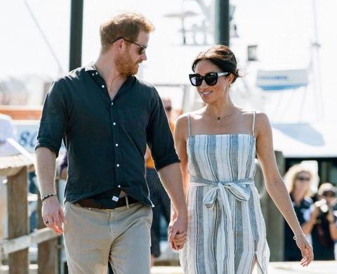 fraser island, queensland   october 22  no uk sales for 28 days prince harry, duke of sussex and meghan, duchess of sussex visit kingfisher bay resort on october 22, 2018 in fraser island, australia the duke and duchess of sussex are on their official 16 day autumn tour visiting cities in australia, fiji, tonga and new zealand  photo by poolsamir husseinwireimage