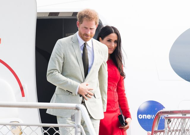 nukualofa, tonga   october 25  prince harry, duke of sussex and meghan, duchess of sussex arrive at nukualofa airport on october 25, 2018 in nukualofa, tonga the duke and duchess of sussex are on their official 16 day autumn tour visiting cities in australia, fiji, tonga and new zealand  photo by samir husseinwireimage