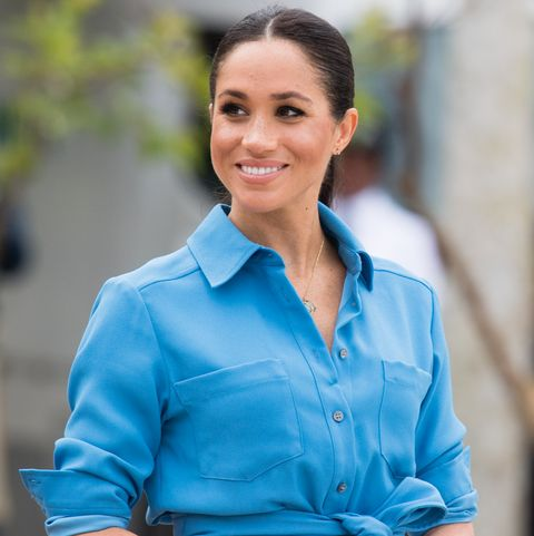 cb2a9deb197 How Meghan Markle Altered Her Veronica Beard Shirt Dress so it Would Adhere  to Royal Protocol