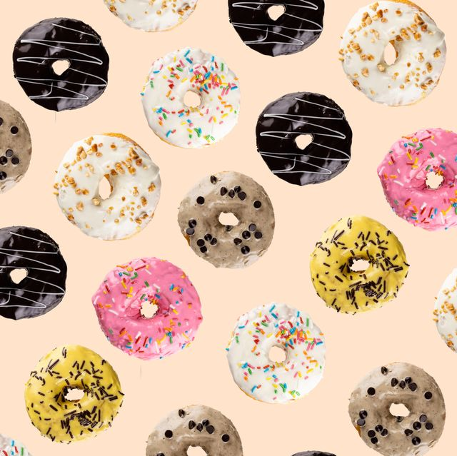 High Angle View Of Donuts On Beige Background