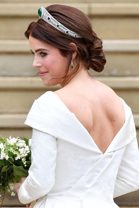 Wedding dress, Gown, Bride, Dress, Clothing, Hair, White, Bridal clothing, Bridal accessory, Shoulder,