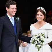 windsor, united kingdom   october 12 embargoed for publication in uk newspapers until 24 hours after create date and time jack brooksbank and princess eugenie leave st georges chapel after their wedding ceremony on october 12, 2018 in windsor, england photo by poolmax mumbygetty images