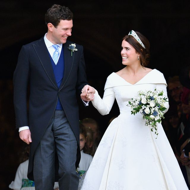 windsor, united kingdom   october 12 embargoed for publication in uk newspapers until 24 hours after create date and time jack brooksbank and princess eugenie leave st george's chapel after their wedding ceremony on october 12, 2018 in windsor, england photo by poolmax mumbygetty images