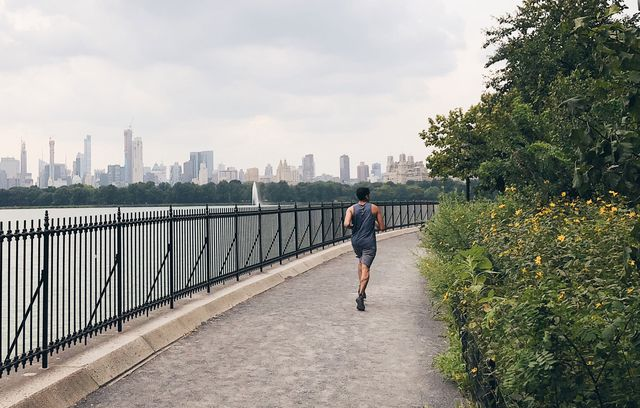 man jogging in new york