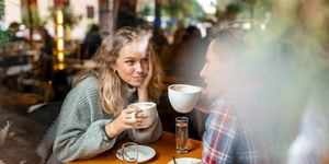 Young couple enjoying their coffee in a bar