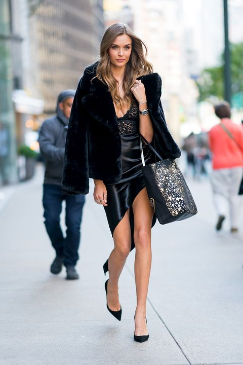 Clothing, Street fashion, Black, Fashion, Fashion model, Snapshot, Fur, Little black dress, Outerwear, Footwear,