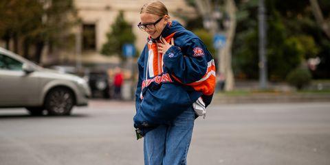 Street fashion, Jeans, Blue, Denim, Street, Electric blue, Jacket, Fashion, Pedestrian, Human,