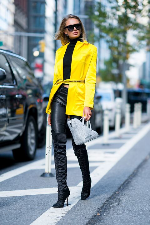 Clothing, Street fashion, Yellow, Fashion, Jeans, Footwear, Snapshot, Outerwear, Jacket, Knee,