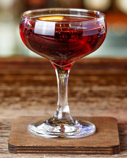 A whiskey-based cocktail with vermouth, Manhattan. Cocktail aperitif on the bar in the nightclub