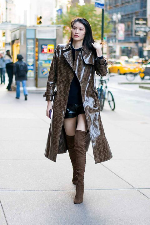 Clothing, Street fashion, Photograph, Fashion, Snapshot, Outerwear, Knee, Shoulder, Footwear, Coat,