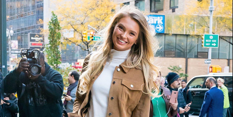Romee Strijd komt aan voor de rehearsals van de Victoria's Secret Show 2018 in New York.