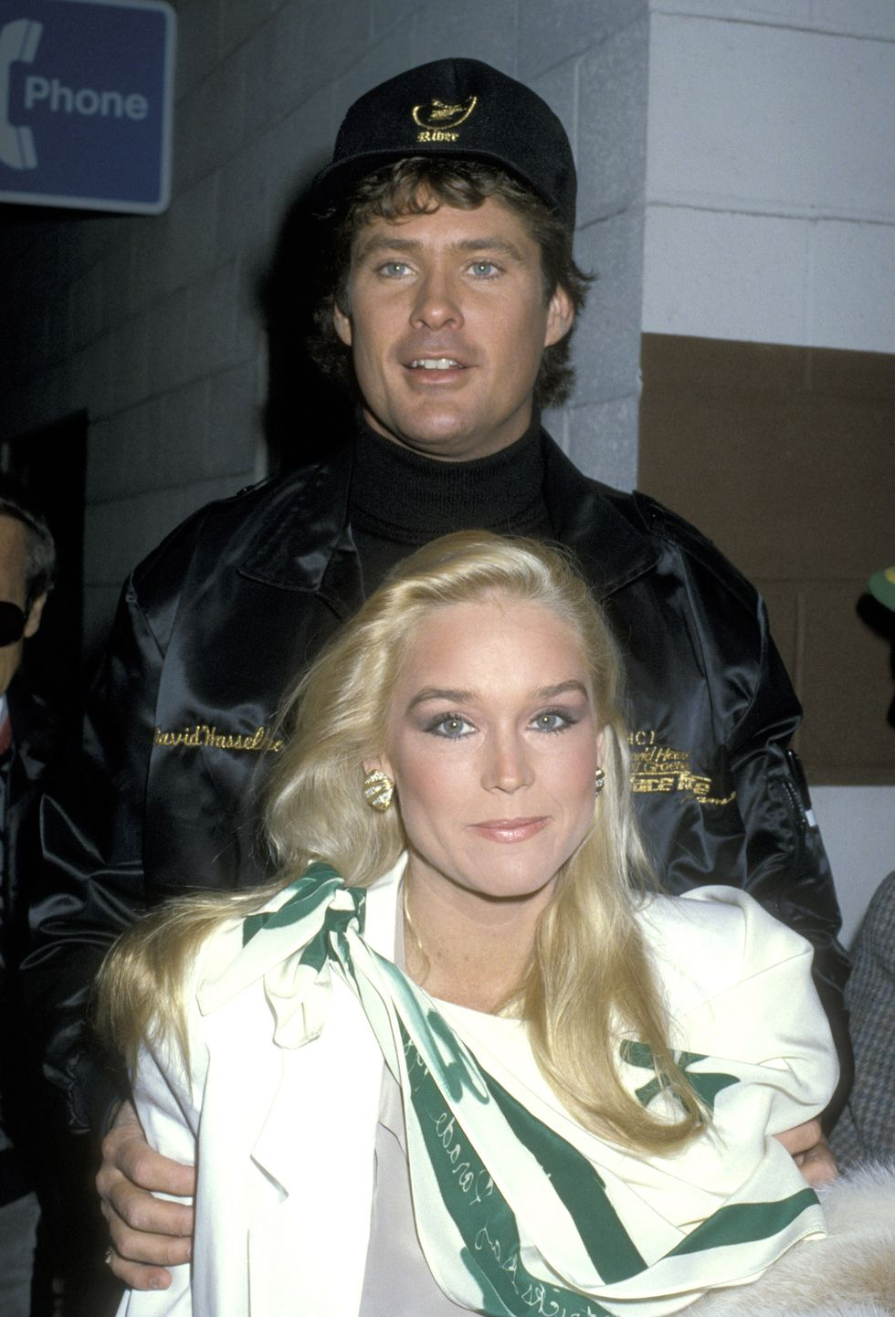 David Hasselhoff and Catherine Hickland during the 1986 St. Patricks Day Parade in Beverly Hills, CA.