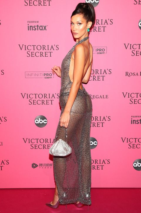 Bella Hadid naked dress at the Victoria's Secret show after party 2018