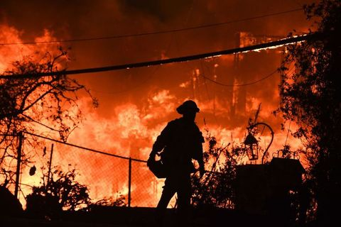 Heat, Wildfire, Fire, Firefighter, Flame, Sky, Fire department, Event, Tree, Emergency service,