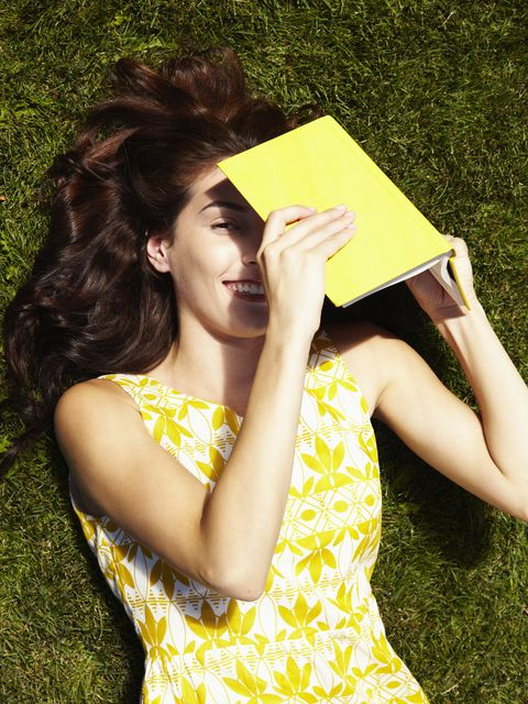 People in nature, Hair, Yellow, Beauty, Grass, Long hair, Spring, Reading, Dress, Photography,