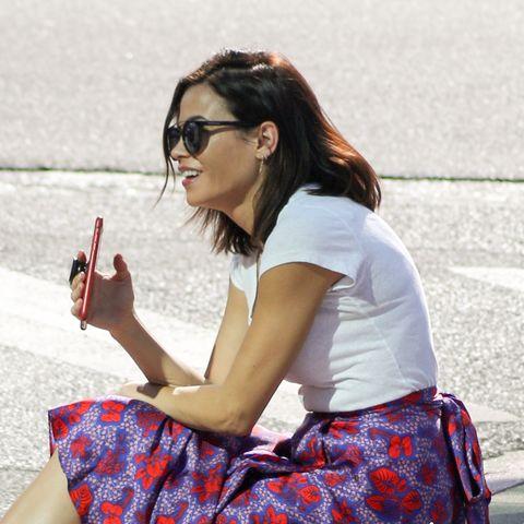 White, Photograph, Eyewear, Sitting, Sunglasses, Beauty, Glasses, Leg, Street fashion, Snapshot,