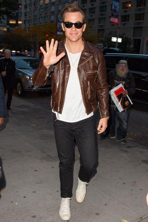 Clothing, Eyewear, Street fashion, Leather, Jeans, Leather jacket, Sunglasses, Jacket, Fashion, Snapshot,