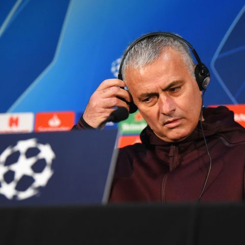 manchester, england   november 26  jose mourinho, manager of manchester united listens using headphones during a press conference at old trafford on november 26, 2018 in manchester, england  photo by nathan stirkgetty images