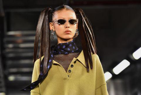Eyewear, Street fashion, Fashion, Sunglasses, Yellow, Glasses, Beauty, Fashion model, Lip, Fashion design,