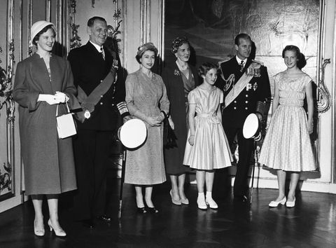 Copenhagen, Amalienborg Palace. Queen Elizabeth Ii State Visit. Danish Princess Margrethe, King Frederik, Queen Elizabeth Ii, Queen Ingrid, Princess Anne Marie, Prince Philipp And Princess Benedicte, In May 1957.