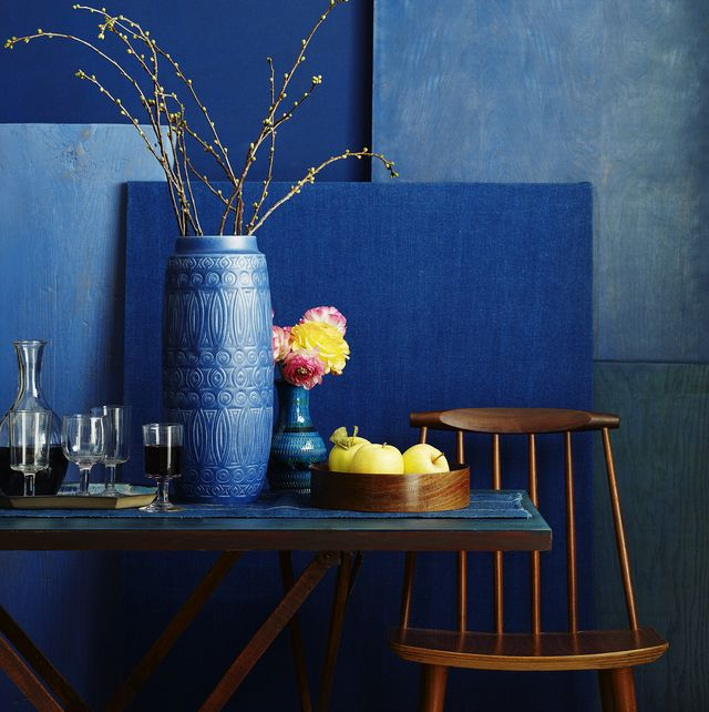 Home interior in shades of relaxing blue
