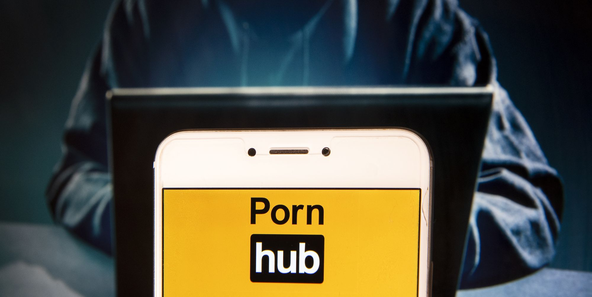Pornographic video sharing website Pornhub logo is seen on
