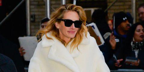 Eyewear, White, Street fashion, Sunglasses, Clothing, Fur, Fashion, Fur clothing, Outerwear, Coat,