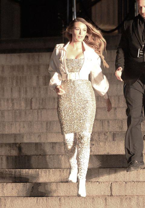 White, Clothing, Fashion, Street fashion, Fashion model, Dress, Footwear, Fashion design, Blond, Leg,