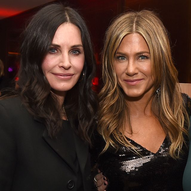 los angeles, ca   december 06  courteney cox l and jennifer aniston pose at the after party for the premiere of netflixs dumplin at sunset tower on december 6, 2018 in los angeles, california  photo by kevin wintergetty images