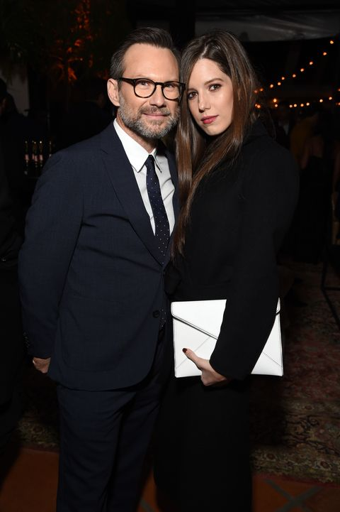 beverly hills, ca   december 06  christian slater and brittany lopez attend the 2018 gq men of the year party at a private residence on december 6, 2018 in beverly hills, california  photo by michael kovacgetty images for gq