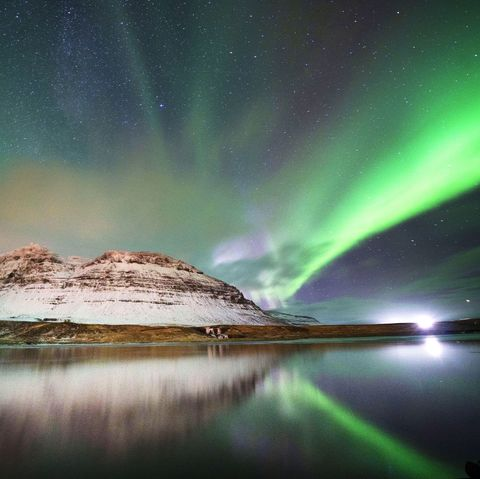 Aurora, Nature, Sky, Natural landscape, Green, Light, Reflection, Water, Atmosphere, Space,