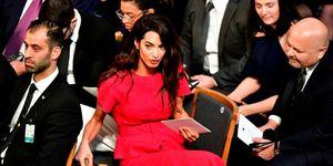 Amal Clooney red oscar de la renta outfit nobel peace prize ceremony