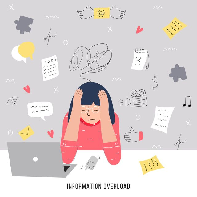 Information overload and multitasking problems concept. Flat and handdrawn vector illustration.