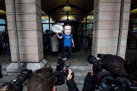 mark zuckerberg protestor london england