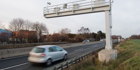 18 december 2018, lower saxony, laatzen cars are driving on the b6 federal highway in the hannover region past a long distance radar recording with a long shutter speed the first radar measuring system in germany is to be activated on 19122018 and will then transfer speeders in a road radar, the speed is controlled by car drivers over a longer stretch of road photo julian stratenschultedpa photo by julian stratenschultepicture alliance via getty images