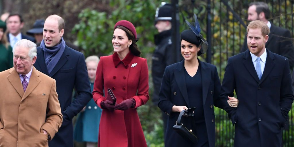 Prince Charles, Prince of Wales, Prince William, Duke of Cambridge, Catherine, Duchess of Cambridge, Meghan, Duchess of Sussex and Prince Harry, Duke of Sussex arrive to attend Christmas Day Church service at Church of St Mary Magdalene on the Sandringham estate on December 25,