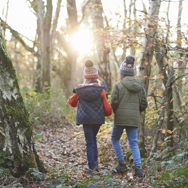 Children walking along a footpath in Autumnal woodland