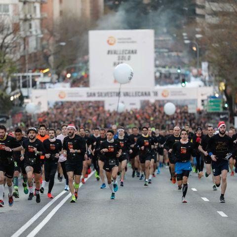 Runners seen taking part of the San Silvestre Vallecana