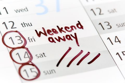 Dates in diary or calendar are marked Weekend away