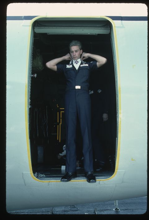 Crewman in Hatch of C-130 Hercules