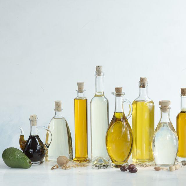 avocado oil, walnut oil, linseed oil, sunflower oil, olive oil, sesam oil, peanut oil, rapeseed oil, pumpkin seed oil, corn oil