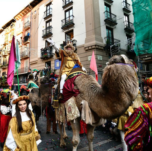 north spain, pamplona, navarra, spain   20190105 a man dressed as one of the three kings greets people during the epiphany parade in pamplona photo by mikel cia da rivapacific presslightrocket via getty images