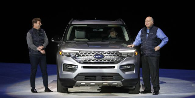 detroit, mi   january 09 jim hackett r, president and ceo of ford motor company, and president of global operations jim farley speak at the reveal of the new 2020 ford explorer suv at ford field on january 9, 2019 in detroit, michigan the new 2020 explorer is the sixth generation of fords all time best selling suv the north american international auto show naias begins january 14 with a press preview, and opens to the general public january 19 photo by bill puglianogetty images